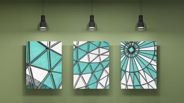 Green, Mint, sky blue Color Art wall Mockup PPT Design_02