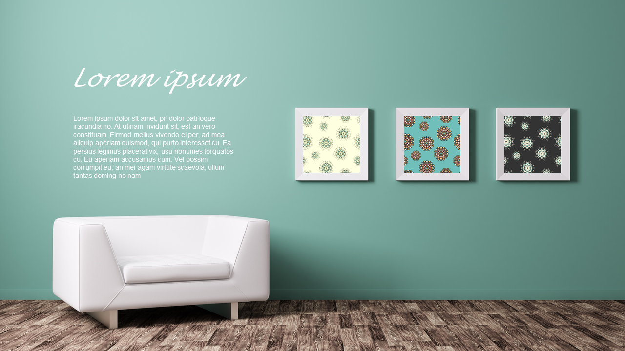 Green Mint Sky Blue Color Art Wall Mockup Ppt Design