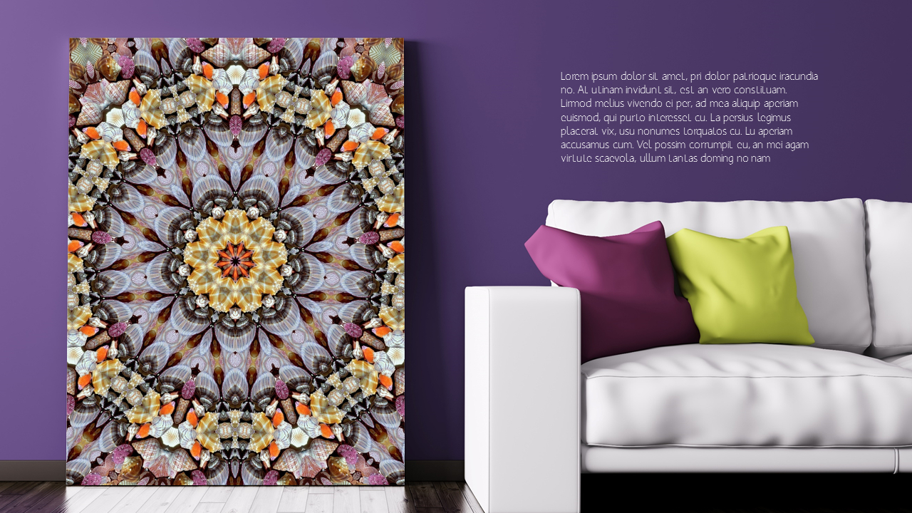 Red Bora Color Art Wall Mockup Ppt