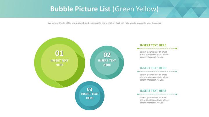 버블 <span class=\'highlight\'>그림</span> 목록 다이어그램 (녹색 노란색)_01