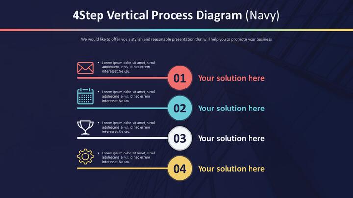 4 단계 수직 프로세스 다이어그램 (Navy)_01