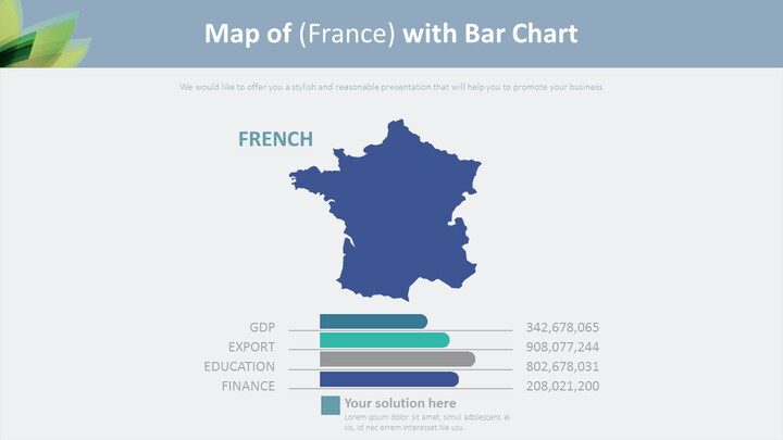Map of (France) with Bar Chart Diagram_01