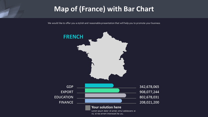 Map of (France) with Bar Chart Diagram_02