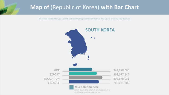 Map of (Republic of Korea) with Bar Chart Diagram_01