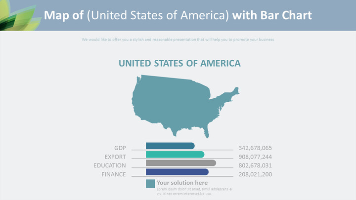 Map of (United States of America) with Bar Chart Diagram_01