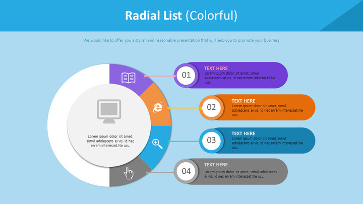 Radial List Diagram (<span class=\'highlight\'>Colorful</span>)_02