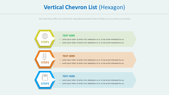 Vertical Chevron List Diagram (Hexagon)_01