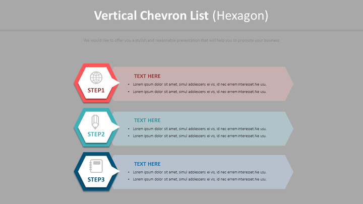 Vertical Chevron List Diagram (Hexagon)_02