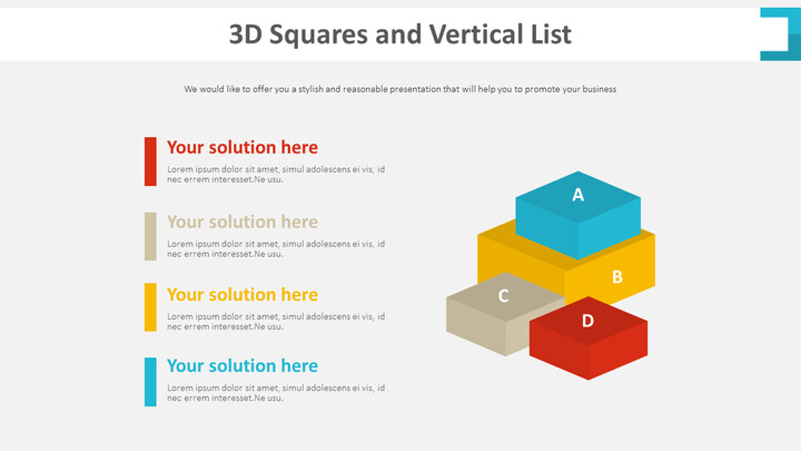 3D 사각형 및 세로 목록 다이어그램_01