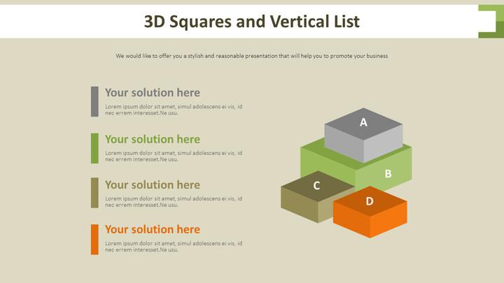3D 사각형 및 세로 목록 다이어그램_02