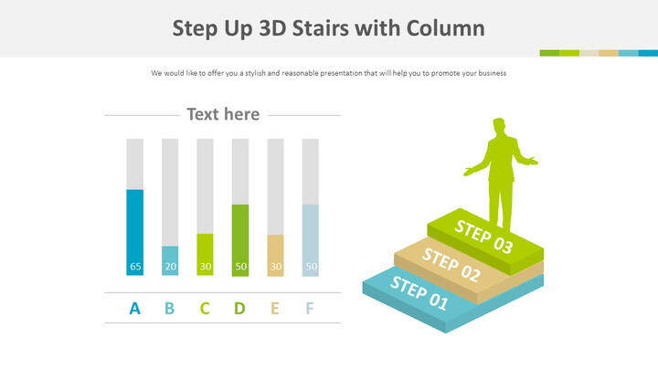 Step Up 3D Stairs with Column Chart Diagram_01