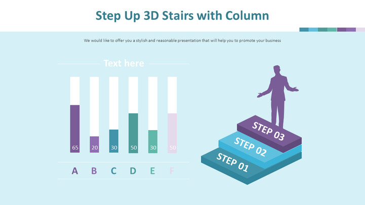 Step Up 3D Stairs with Column Chart Diagram_02