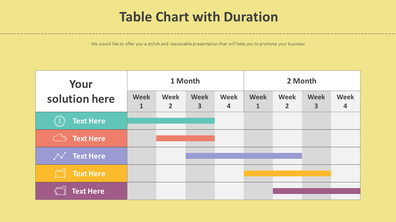 Table Chart With Duration Diagram