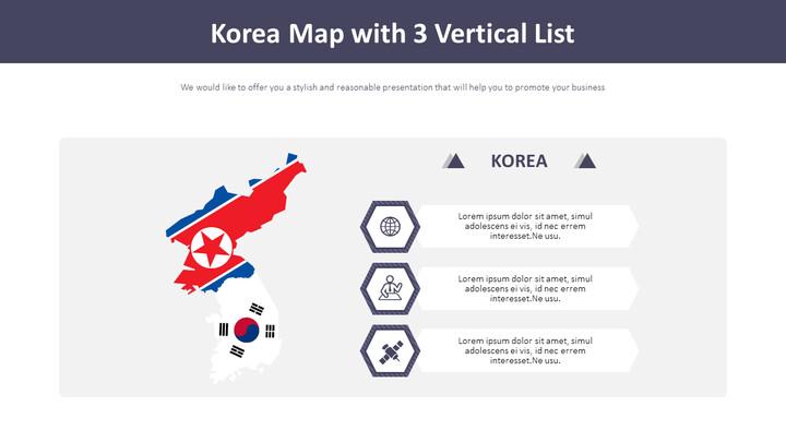 Korea Map with 3 Vertical List Diagram_01