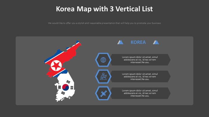 Korea Map with 3 Vertical List Diagram_02