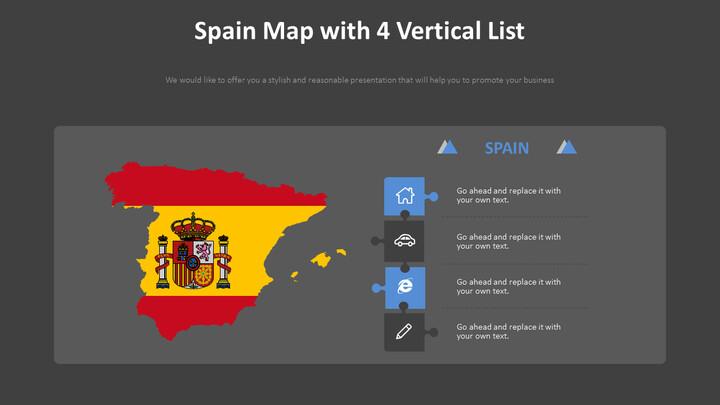 4 개의 리스트가 있는 스페인 지도 다이어그램_02