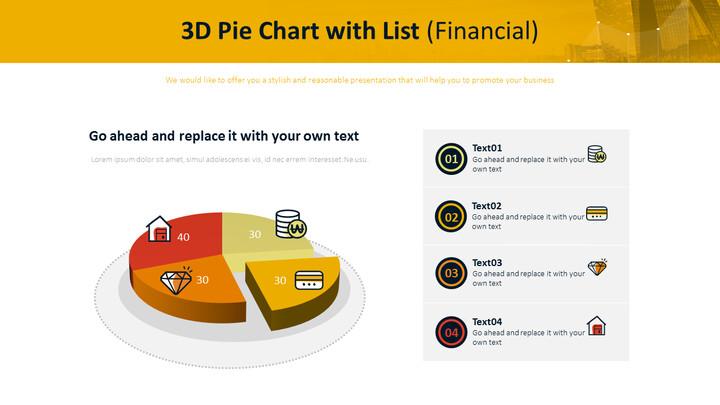 목록이있는 3D 파이 차트 (금융)_01