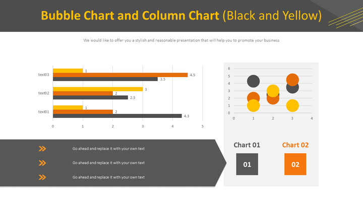 Bubble Chart and Column Chart (Black and Yellow)_01