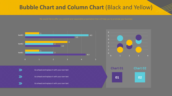 Bubble Chart and Column Chart (Black and Yellow)_02