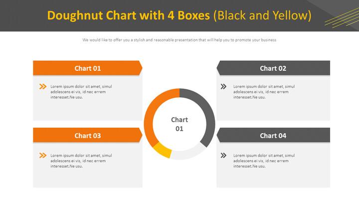 4 개의 상자가있는 도넛 형 차트 (검정색 및 노란색)_01