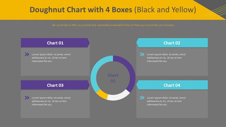 4 개의 상자가있는 도넛 형 차트 (검정색 및 노란색)_02