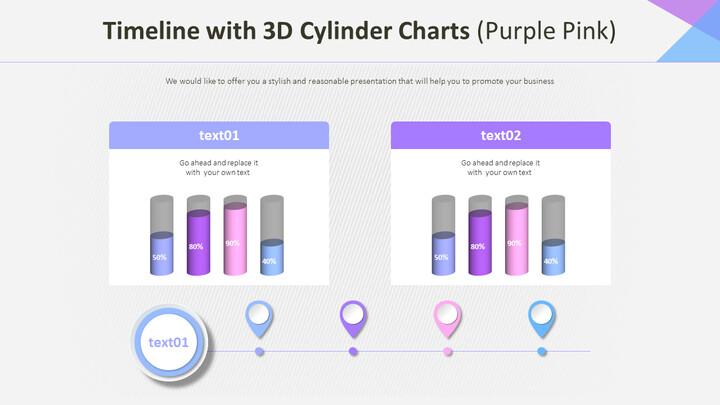 3D 실린더 차트가있는 타임 라인 (퍼플 핑크)_02