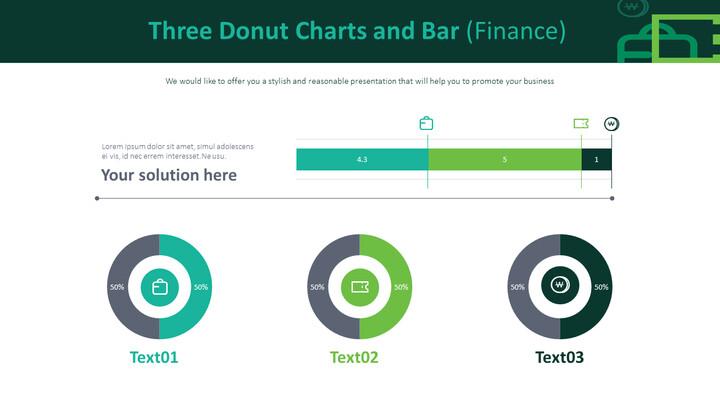 3 개의 도넛 형 차트 및 막대 (금융)_01