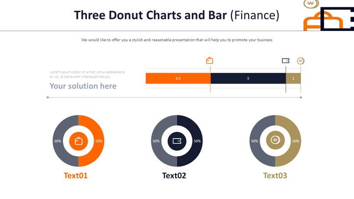 3 개의 도넛 형 차트 및 막대 (금융)_02