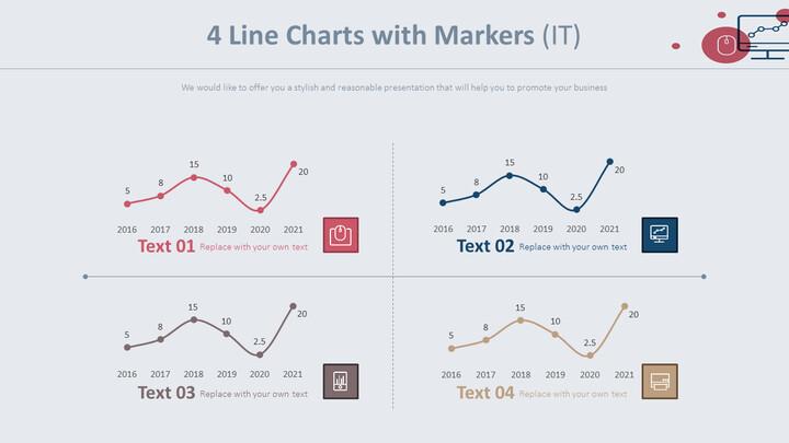 마커가있는 4 개의 꺾은 선형 차트 (IT)_01