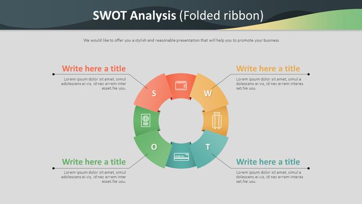 SWOT 분석 다이어그램 (접힌 리본)_02