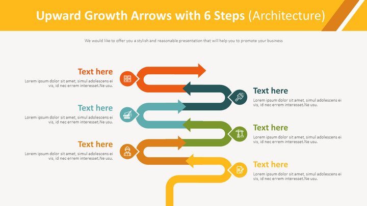 6 단계 다이어그램 (건축)를 가진 상향 성장 화살표_01