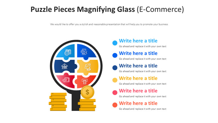Puzzle Pieces Magnifying <span class=\'highlight\'>Glass</span> Diagram (E-Commerce)_01