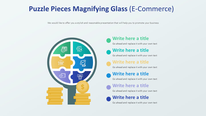 Puzzle Pieces Magnifying <span class=\'highlight\'>Glass</span> Diagram (E-Commerce)_02
