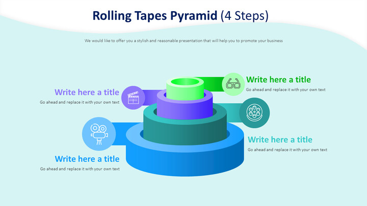 Rolling Tapes Pyramid Diagram (4 Steps)_01