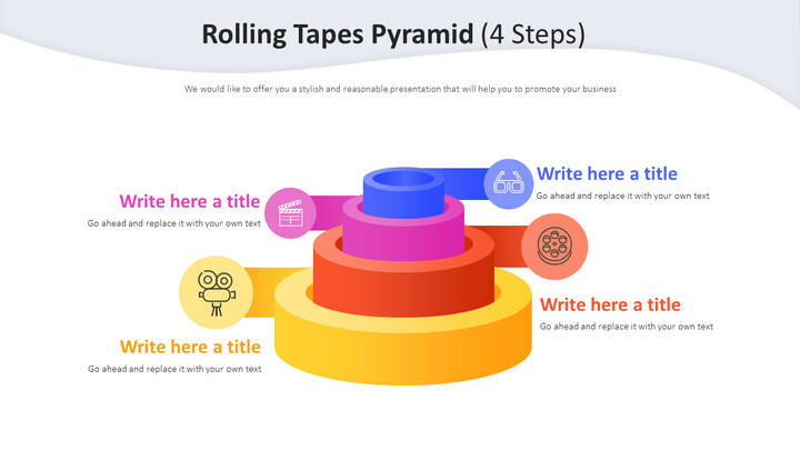 Rolling Tapes Pyramid Diagram (4 Steps)_02