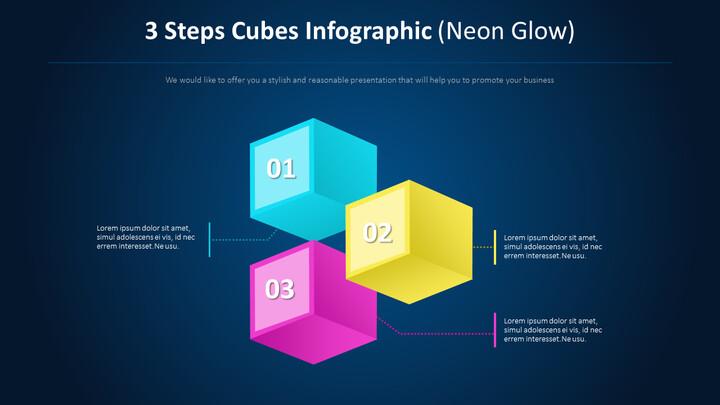 3 단계 큐브 Infographic 다이어그램 (네온 글로우)_01