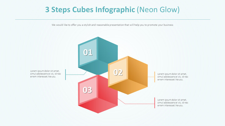 3 단계 큐브 Infographic 다이어그램 (네온 글로우)_02