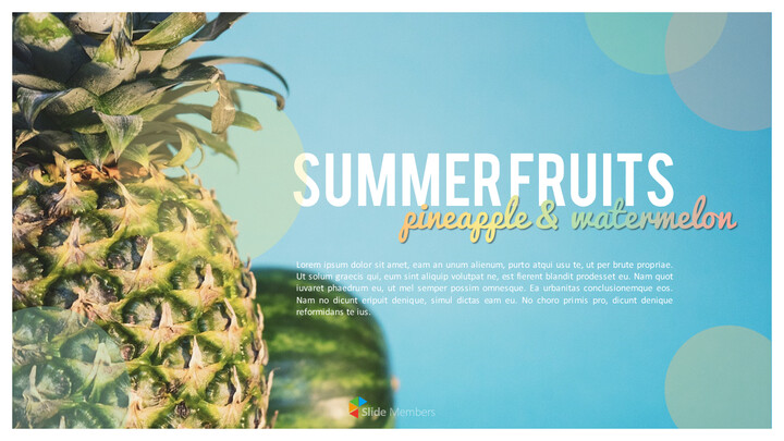 여름 파인애플 & 수박 PowerPoint 템플릿 디자인_01
