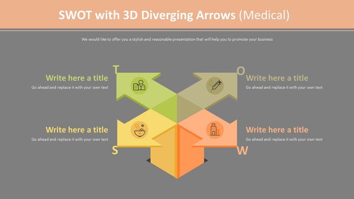 3D 화살표가있는 SWOT 다이어그램 (의료)_02
