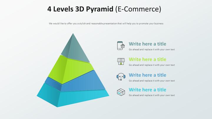 4 Levels 3D Pyramid Diagram (E-Commerce)_02