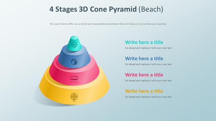 4 단계 3D 콘 피라미드 다이어그램 (해변)_01