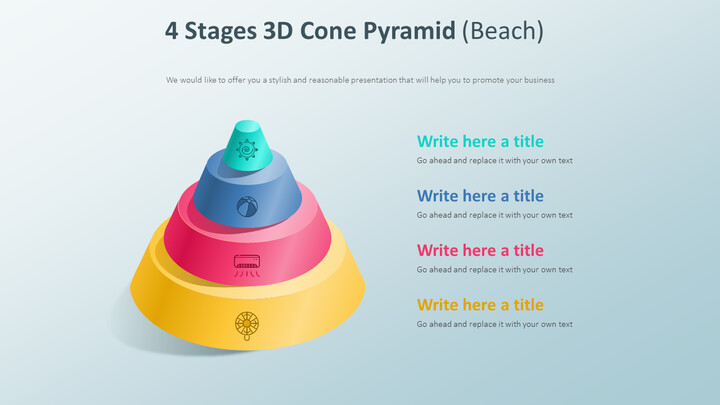 4 Stages 3D Cone Pyramid Diagram (Beach)_01