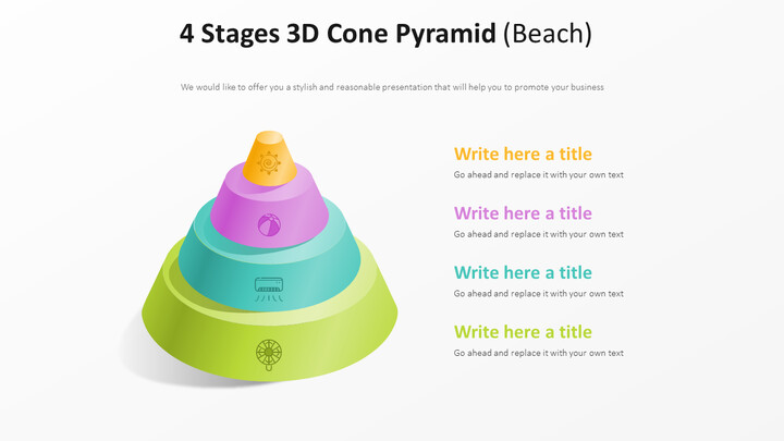 4 Stages 3D Cone Pyramid Diagram (Beach)_02