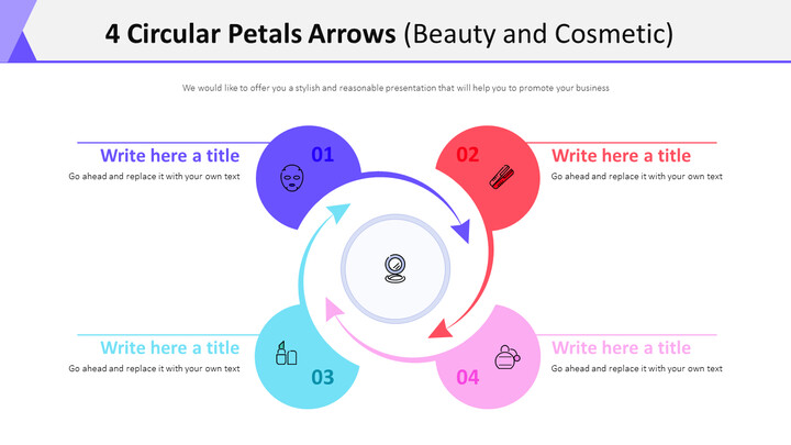 4 Circular Petals Arrows Diagram (Beauty and Cosmetic)_01