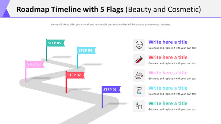 Roadmap Timeline with 5 Flags Diagram (Beauty and Cosmetic)_01