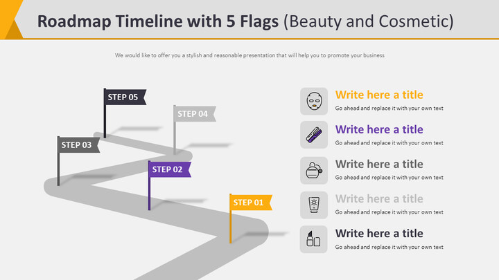 Roadmap Timeline with 5 Flags Diagram (Beauty and Cosmetic)_02