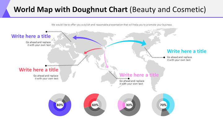 World Map with Doughnut Chart Diagram (Beauty and Cosmetic)_01