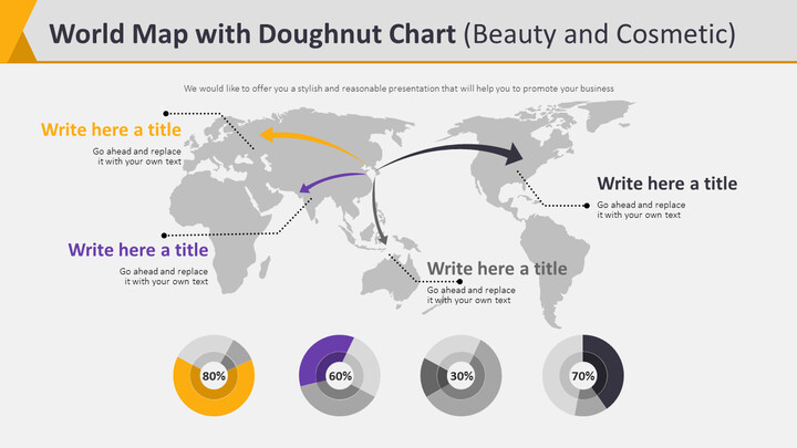 World Map with Doughnut Chart Diagram (Beauty and Cosmetic)_02