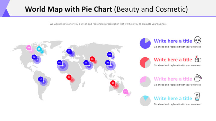 World Map with Pie Chart Diagram (Beauty and Cosmetic)_01