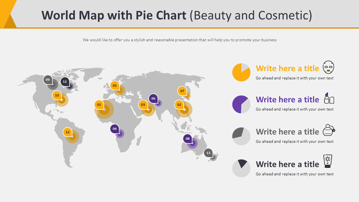 World Map with Pie Chart Diagram (Beauty and Cosmetic)_02